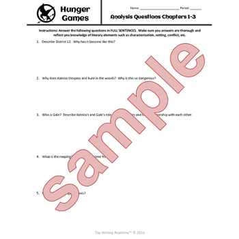 Hunger Games Chapter Questions and Vocabulary Packet