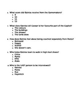 Hunger Games Chapter Quiz 7-9