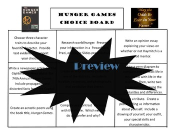Hunger Games Choice Board Tic Tac Toe Novel Assessment Activities Menu Project