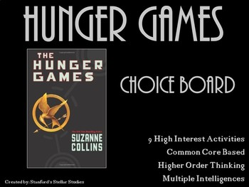 Hunger Games Choice Board Tic Tac Toe Novel Assessment Act