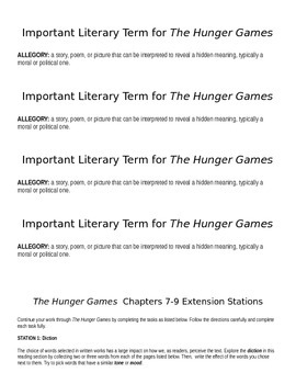 Hunger Games Close Reading/Extension Stations