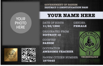 Hunger Games: Editable District ID Cards