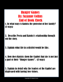 Hunger Games End of Book Quiz