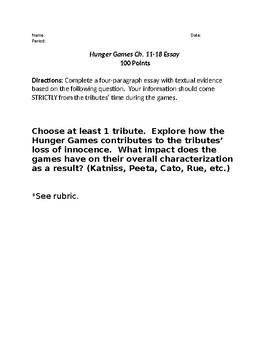 Hunger Games Essay Prompt