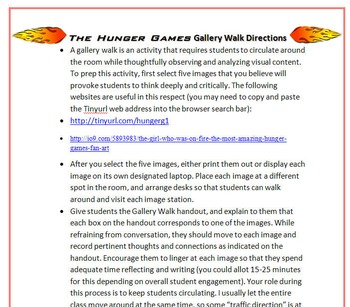 Hunger Games Gallery Walk: Writing and Image Analysis Activity
