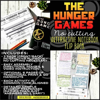 Hunger Games Interactive Notebook Flipbook: Literary Analysis