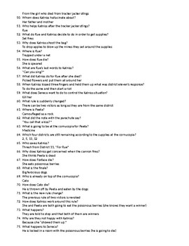 Hunger Games Movie Questions and Answers