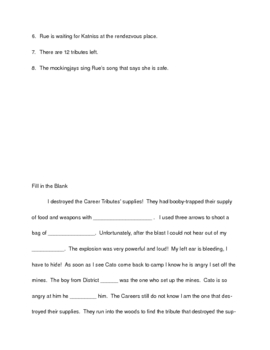 Hunger Games Part 2 (Chapters 10-18) Comprehension Questions