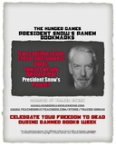 Free Hunger Games President Snow Censorship Bookmarks #weh
