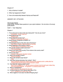 Hunger Games Study Guide With Answer Key