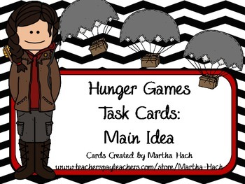Hunger Games Task Cards - Main Idea and Vocabulary