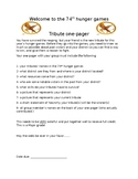 Hunger Games Tribute One Pager Group Project