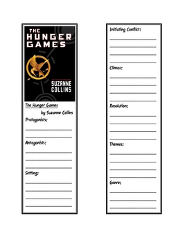 """""""Hunger Games"""" Trilogy Bookmarks to Record Story Elements"""