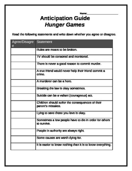 The Hunger Games anticipation guide