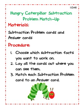 Hungry Caterpillar Common Core Subtraction Centers