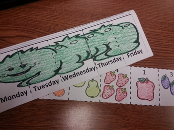 Hungry Caterpillar Days/Dias Counting 1-5 foldable activity C-scope Common Core