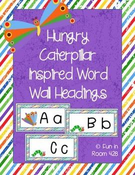 Caterpillar Inspired Word Wall Headings {A-Z}