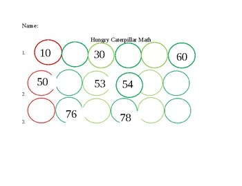 Hungry Caterpillar MathFill in the blank