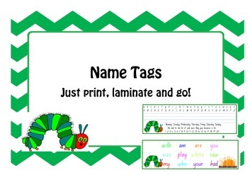 Hungry Caterpillar Name Tags