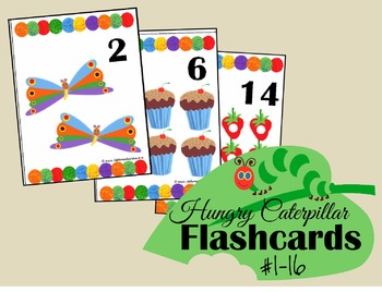Hungry Caterpillar Number Flashcards 1-16