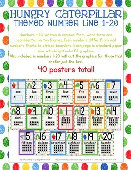 Caterpillar Number Posters 1-20