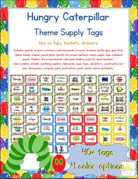 Caterpillar Themed Classroom Supply Tags