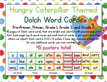 Hungry Caterpillar Themed Decor Dolch Word Cards (Pre-Prim