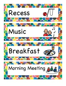 Hungry Caterpillar themed classroom picture schedule