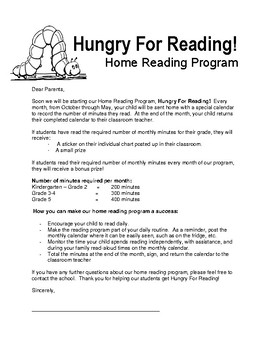 Hungry For Reading Home Reading Program 2017-2018 *updated