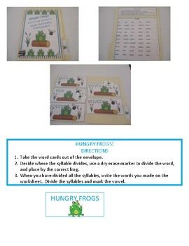 Hungry Frogs - A File Folder Activity For Syllable Division in Closed Syllables