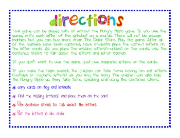 Hungry Hippo Letter Recognition Game