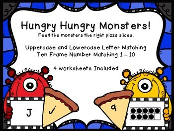Hungry Hungry Monsters Letter and Number Matching Activities and Worksheets