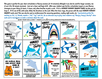 Quick Drill Hungry Hungry Sharky {for speech therapy or any skill drill}