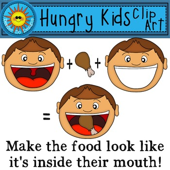 Hungry Kids and Food Clip Art