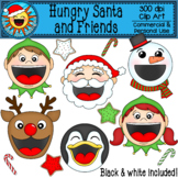 Hungry Santa and Friends Clip Art