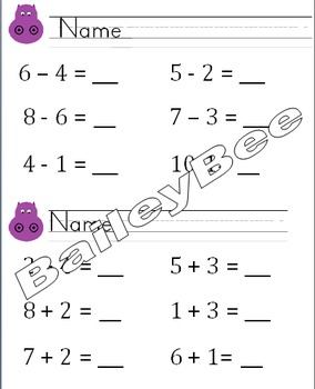Hungry hippo math addition and subtraction activity