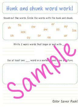 Hunk and Chunk Word Work