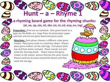 Hunt-a-Rhyme 1 - an Easter board game for rhyming practice