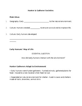 Hunter Gatherer Societies Guided Notes
