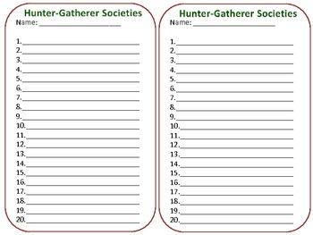 Hunter-Gatherer Societies Multiple Choice QR Code task cards Self Checking