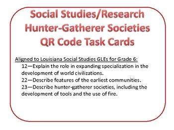 Hunter-Gatherer Societies Multiple Choice QR Code task car