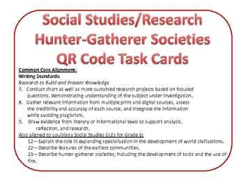 Hunter-Gatherer Societies QR Code Task Card Common Core Research