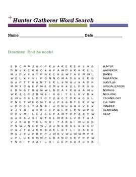 Hunter Gatherer Word Search