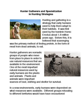 Hunter Gatherers and Specialization  in Hunting Strategies