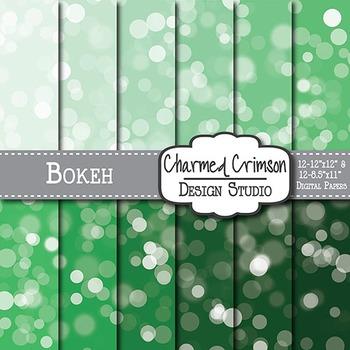 Hunter Green Bokeh Digital Paper 1350