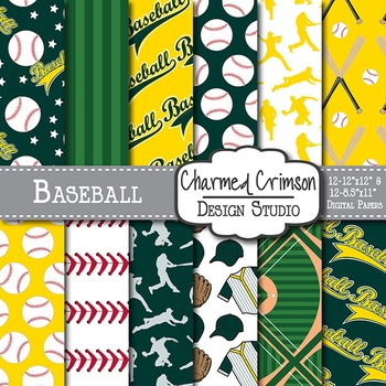 Hunter Green and Gold Baseball Digital Paper 1471