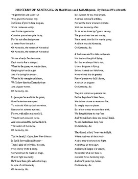 Hunters of Kentucky poem and analysis