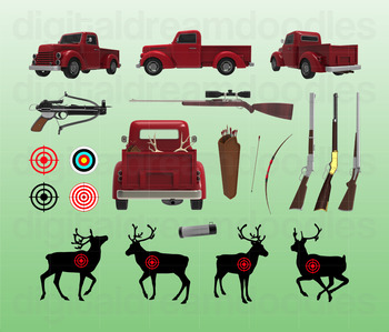 Hunting Clip Art - Hunter Truck Digital Graphics