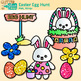 Hunting Easter Eggs Clip Art {Bunnies & Glitter Flowers for Spring Activities}