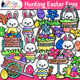 Hunting Easter Eggs Clip Art | Bunnies & Glitter Flowers for Spring Activities